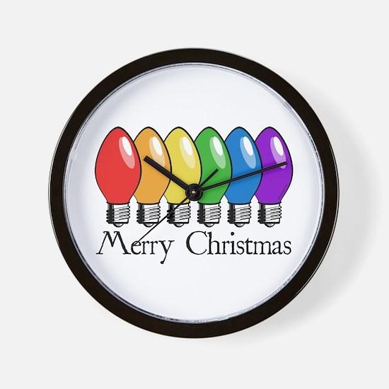 Merry Christmas Rainbow Lights Wall Clock