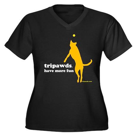 Tripawds Have More Fun Women's Plus Size V-Neck Da