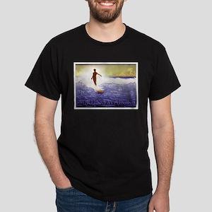 Surfing Waikiki Black T-Shirt