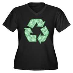 Path to Recycling Women's Plus Size V-Neck Dark T-