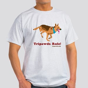 Tripawds Rule Running GSD White BKG T-Shirt