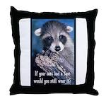 Raccoon Coat Throw Pillow
