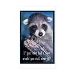Raccoon Coat Sticker (Rectangle 50 pk)