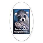 Raccoon Coat Sticker (Oval 50 pk)