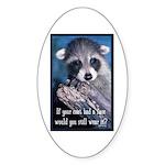 Raccoon Coat Sticker (Oval 10 pk)