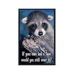 Raccoon Coat Rectangle Magnet
