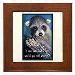 Raccoon Coat Framed Tile
