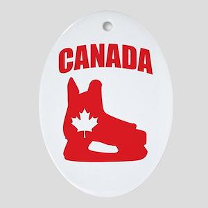 Canada Hockey Skate Ornament (Oval)