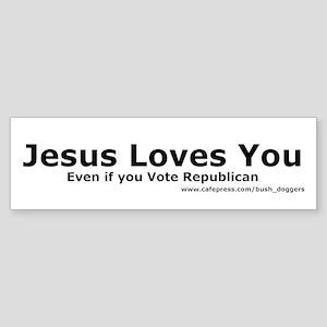 Jesus Loves You Bumper Sticker (white)