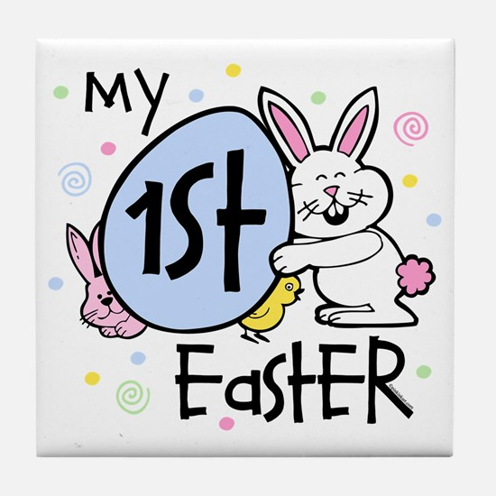 Bunny Chickie 1st Easter Tile Coaster