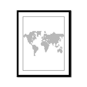 Lacrosse Map Framed Panel Print