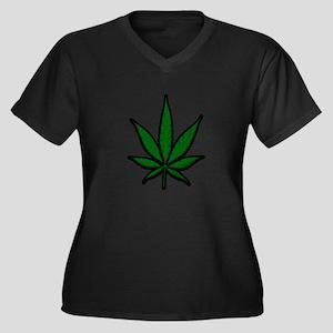 Pot Leaf Women's Plus Size V-Neck Dark T-Shirt