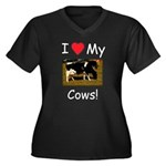 Love My Cows Women's Plus Size V-Neck Dark T-Shirt