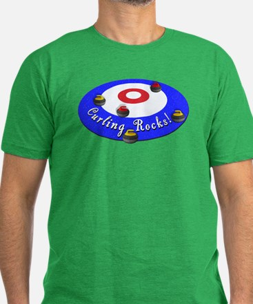 Curling Rocks! Men's Fitted T-Shirt (dark)
