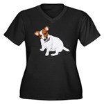 Jack Russell Painting Women's Plus Size V-Neck Dar