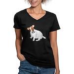 Jack Russell Painting Women's V-Neck Dark T-Shirt