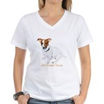 Jack Russell Terrier Painting Women's V-Neck T-Shi