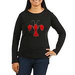 Lobster Fleur De Lis Women's Long Sleeve Dark T-Sh