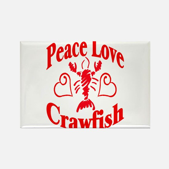 Peace Love Crawfish Rectangle Magnet