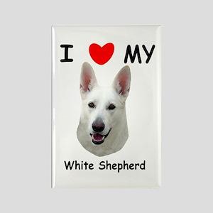 Love My White Shepherd Rectangle Magnet