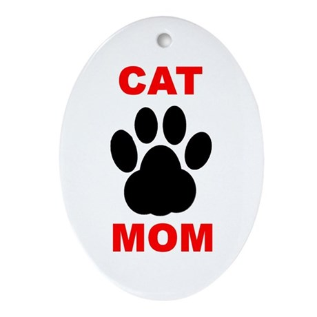 Cat Mom Ornament (Oval)