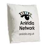 Aniridia Network logo & URL Burlap Throw Pillow