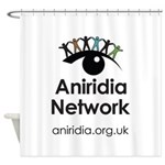 Aniridia Network logo & URL Shower Curtain