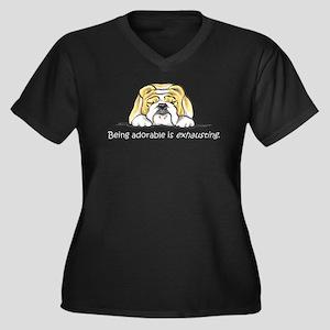 Adorable Bulldog Women's Plus Size V-Neck Dark T-S