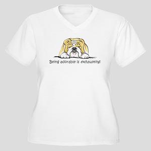 Adorable Bulldog Women's Plus Size V-Neck T-Shirt