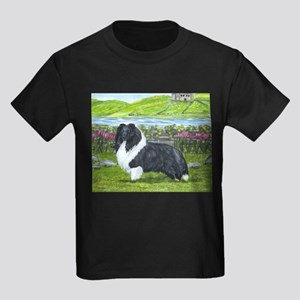Bi Black Sheltie Kids Dark T-Shirt