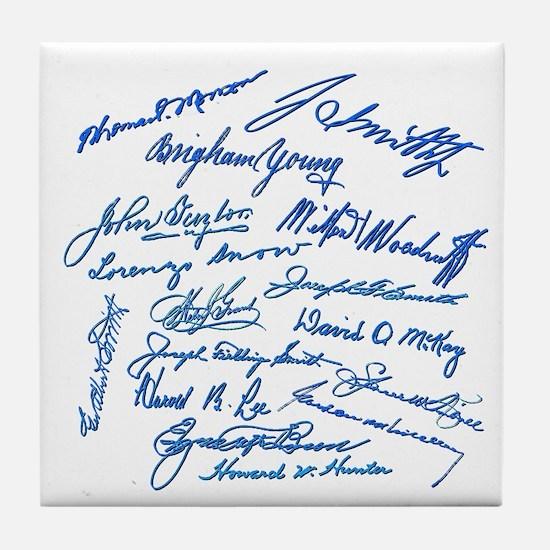 LDS Prophets Autographs Tile Coaster