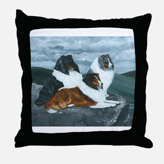 Shelties in the Mist Throw Pillow