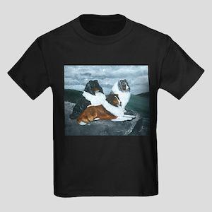 Shelties in the Mist Kids Dark T-Shirt