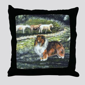 Sable Sheltie with Sheep Throw Pillow