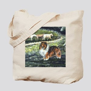 Sable Sheltie with Sheep Tote Bag