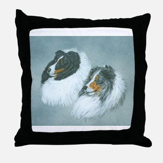 Blue and Tri Sheltie Throw Pillow