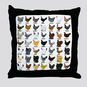 49 Hen Breeds Throw Pillow