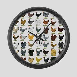 49 Hen Breeds Large Wall Clock