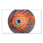 Peacock Sticker (Rectangle 50 pk)