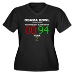 Obama Bowl Women's Plus Size V-Neck Dark T-Shirt