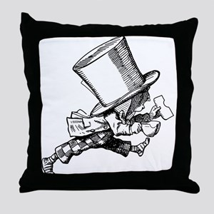 Mad Hatter Striding Right Throw Pillow