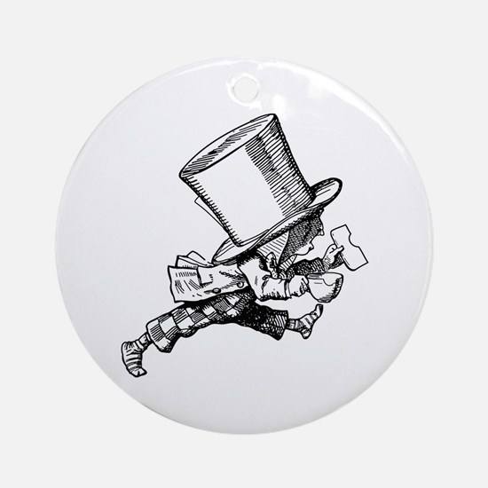 Mad Hatter Striding Right Ornament (Round)