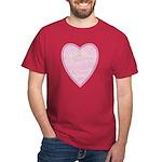 Pink Heart Black T-Shirt