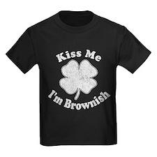 Kiss Me I'm Brownish Kids Dark T-Shirt