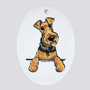 Welsh Terrier Paws Up Ornament (Oval)