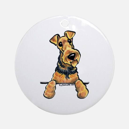 Welsh Terrier Paws Up Ornament (Round)