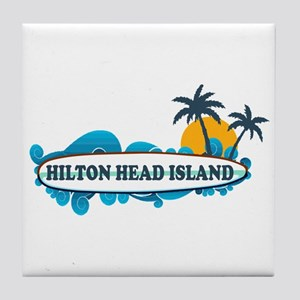 Hilton Head Island SC - Surf Design Tile Coaster