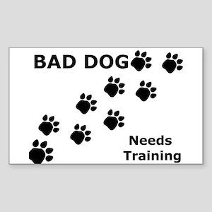 Bad Dog Paws Needs Training Rectangle Sticker