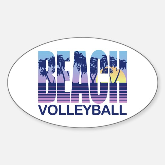 Beach Volleyball Sticker (Oval)
