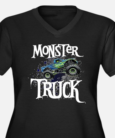 Monster Truck Women's Plus Size V-Neck Dark T-Shir